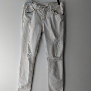 London Distressed Skinny Jeans Light White Size 9